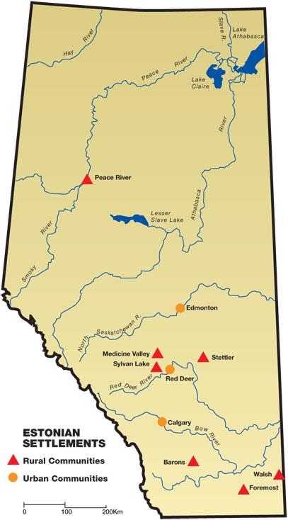 map of lakes in alberta Alberta S Estonian Heritage Alberta Estonian Settlements map of lakes in alberta