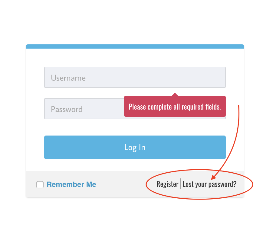 lost password button